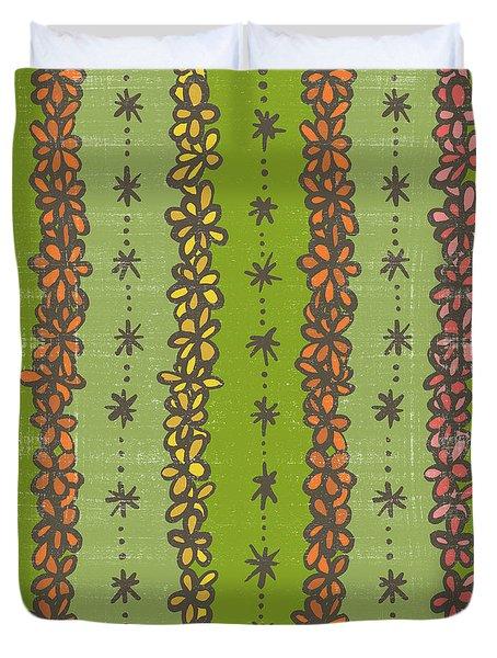 Floral Stripes Pattern Duvet Cover