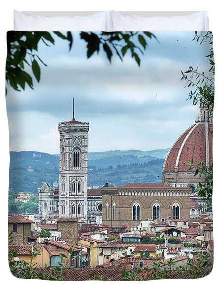Florence And The Cathedral From The Boboli Gardens Duvet Cover