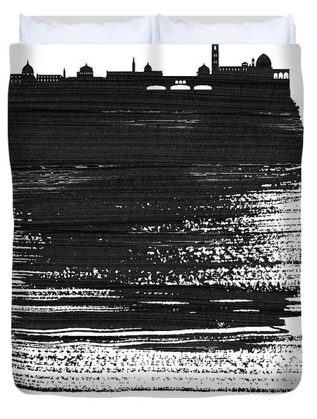 Florence Skyline Brush Stroke Black Duvet Cover