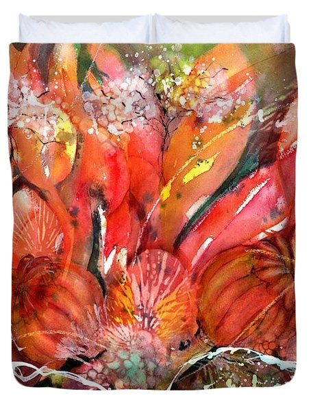 Flower Bouquet With Poppy Seed Pods Duvet Cover