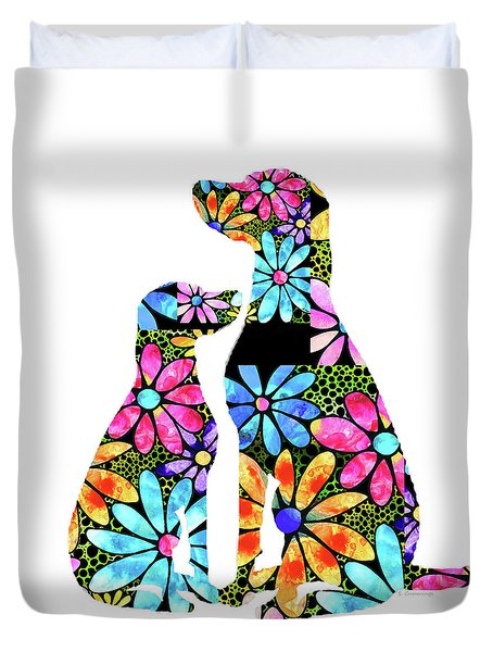Flower Dog Art - Unconditional Love - Sharon Cummings Duvet Cover