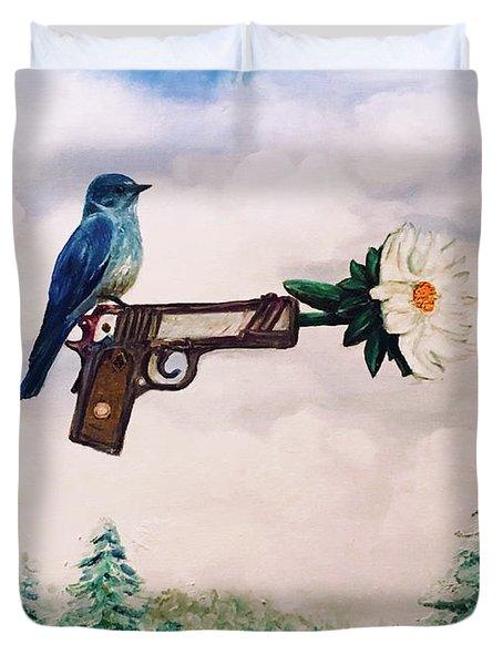 Flower In A Gun- Bluebird Of Happiness Duvet Cover