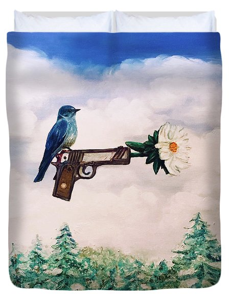 Flower In A Gun- Bluebird Of Happiness Duvet Cover