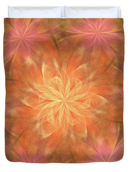 Duvet Cover featuring the digital art Flower Power by Angie Tirado