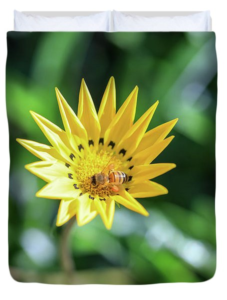 Yellow Flowers And A Bee Duvet Cover