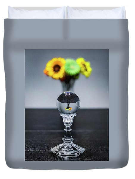 Duvet Cover featuring the photograph Flowers And Crystal Ball by Lora J Wilson