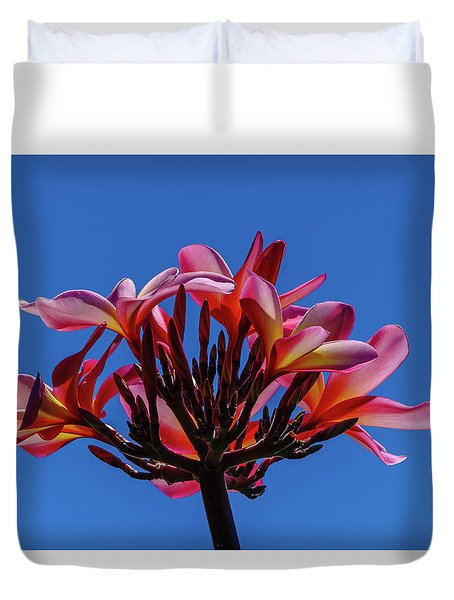 Flowers In Clear Blue Sky Duvet Cover