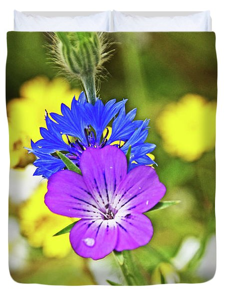 Flowers In The Meadow. Duvet Cover
