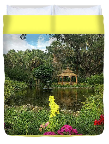 Flowers To Gazebo By The Lake Duvet Cover