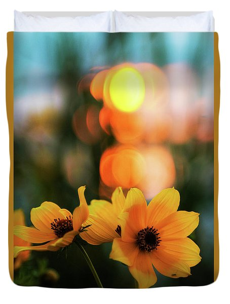 Flowery Bokeh Sunset Duvet Cover