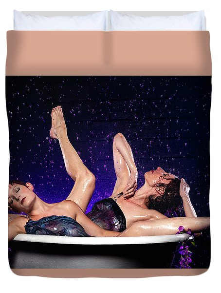 Achelois And Sister Bathing In The Galaxy Duvet Cover