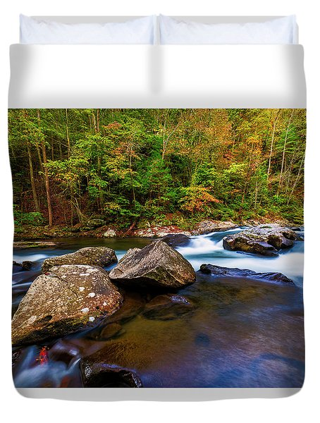 Duvet Cover featuring the photograph Flowing Waters by Andy Crawford
