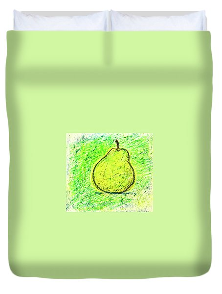 Duvet Cover featuring the drawing Fluorescent Pear by Asha Sudhaker Shenoy