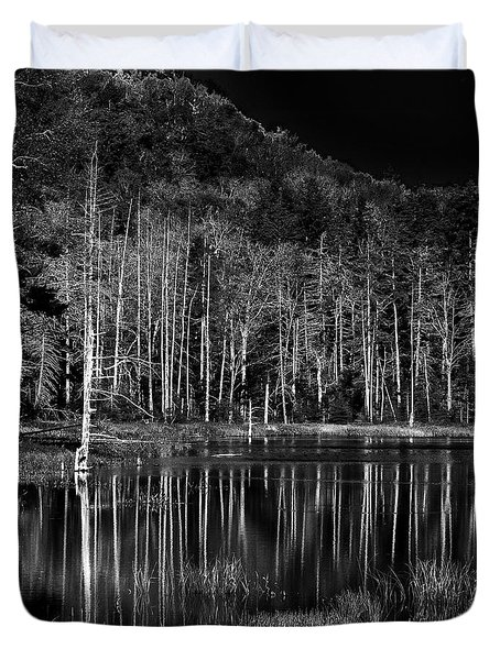 Duvet Cover featuring the photograph Fly Pond Reflection by David Patterson