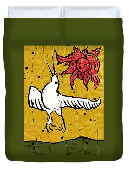 Flying Bird And Red Sun Face Duvet Cover