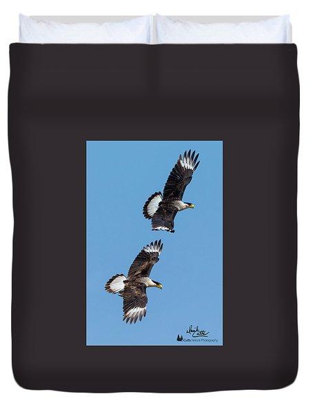 Flying Caracaras Duvet Cover