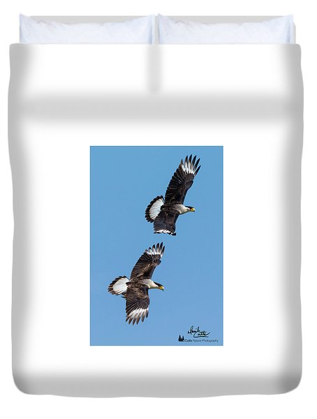 Flying Caracaras Duvet Cover