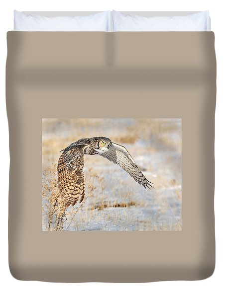 Flying Great Horned Owl Duvet Cover