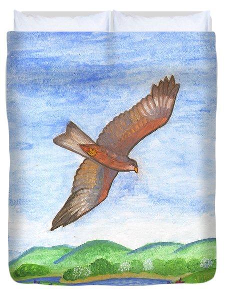 Flying Hawk Duvet Cover
