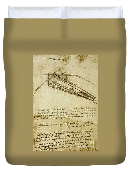 Flying Machine, Codex Atlanticus By Leonardo Da Vinci Duvet Cover