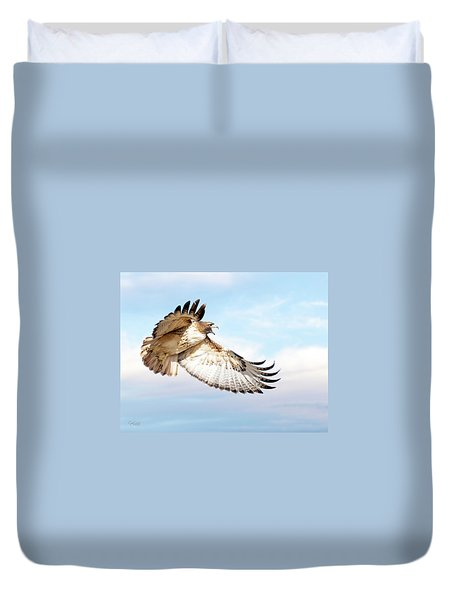 Flying Red-tailed Hawk Duvet Cover
