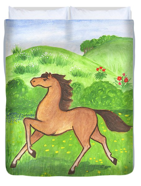 Foal In The Meadow Duvet Cover