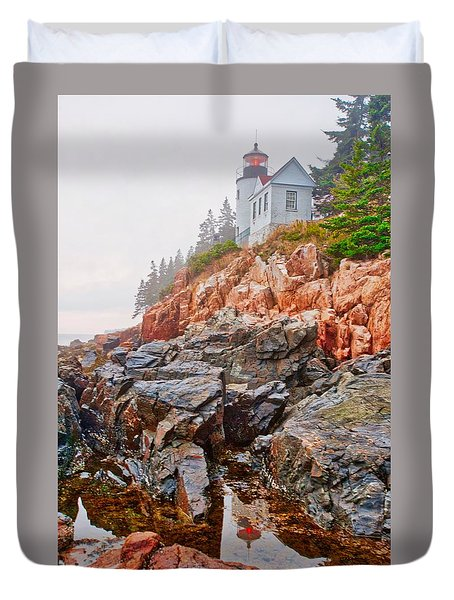 Foggy Bass Harbor Lighthouse Duvet Cover