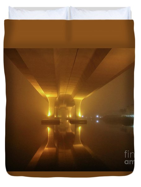 Duvet Cover featuring the photograph Foggy Bridge Glow by Tom Claud