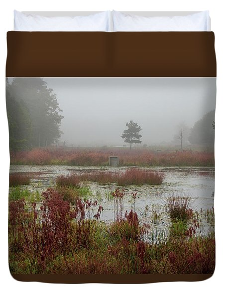 Duvet Cover featuring the photograph Foggy Morning At Cloverdale Farm by Kristia Adams