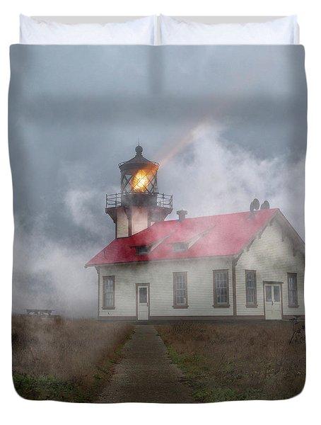 Foggy Point Cabrillo Lighthouse California Duvet Cover
