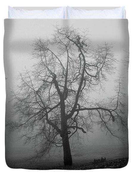 Foggy Tree In Black And White Duvet Cover