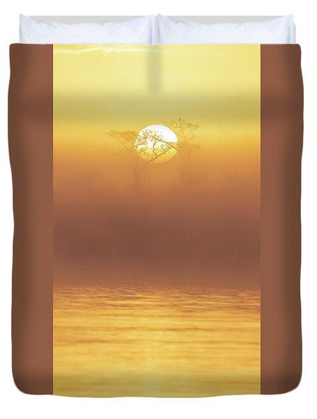 Foggy Wetlands Sunrise Duvet Cover