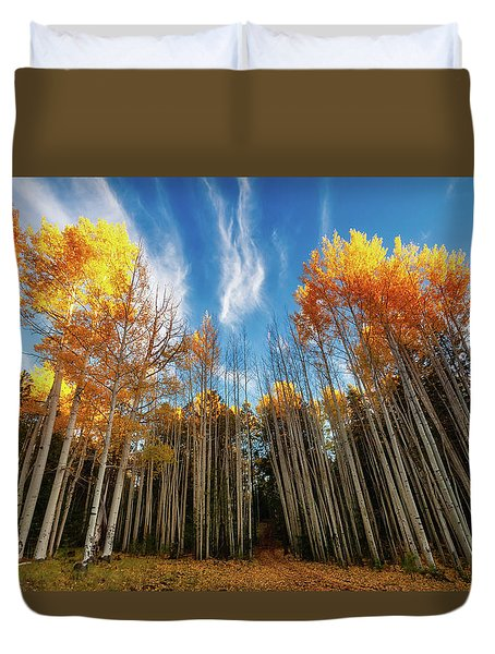 Duvet Cover featuring the photograph Follow The Yellow Leaf Road by Rick Furmanek