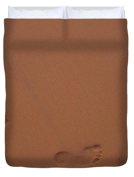 Foot Prints In Sand Duvet Cover