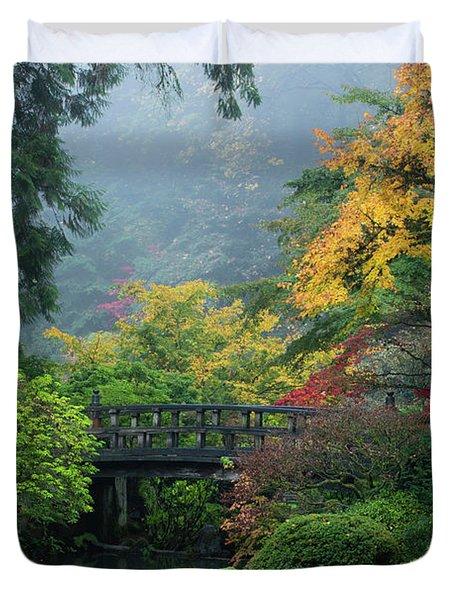 Footbridge In Japanese Garden Duvet Cover