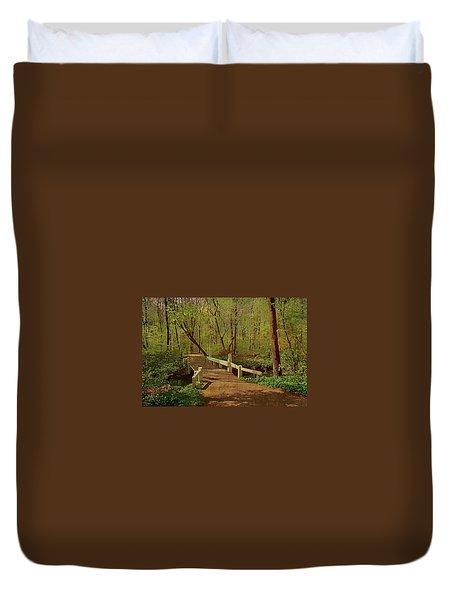 Footbridge Through The Woods Duvet Cover