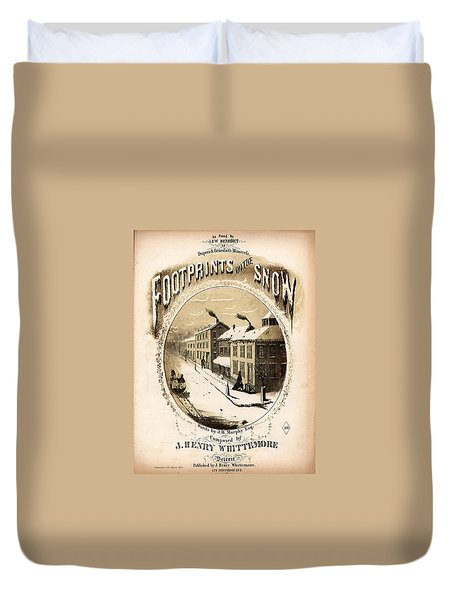 Footprints On The Snow, 1866 Music Sheet Cover Page Duvet Cover