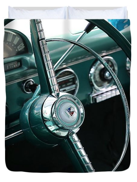 Duvet Cover featuring the photograph 1955 Ford Fairlane Steering Wheel by Debi Dalio