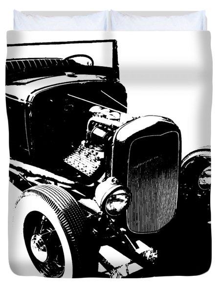 Ford Flathead Roadster Two Blk Duvet Cover
