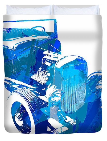 Ford Flathead Roadster Two Blue Pop Duvet Cover