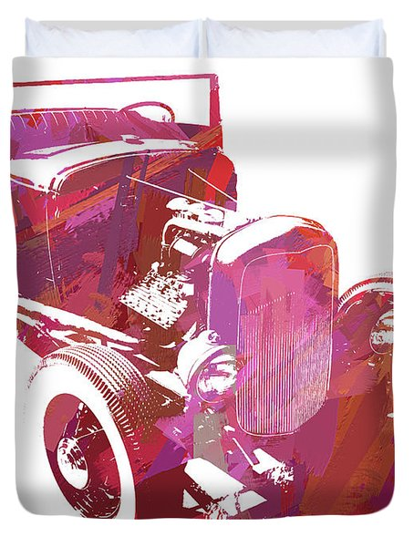Ford Flathead Roadster Two Pop Duvet Cover