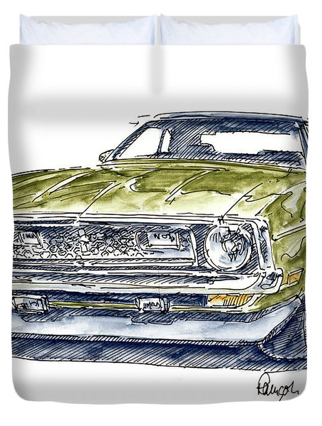 Ford Mustang Mach 1 Muscle Car Ink Drawing And Watercolor Duvet Cover