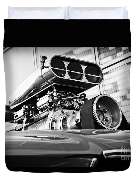 Ford Mustang Vintage Motor Engine Duvet Cover