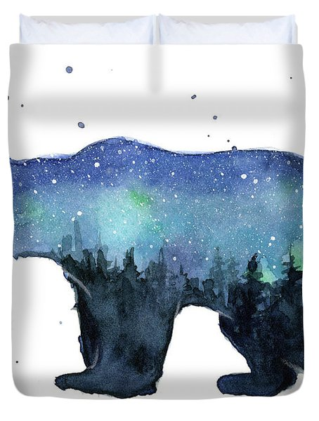 Forest Bear Watercolor Galaxy Duvet Cover