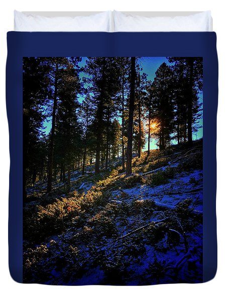 Duvet Cover featuring the photograph Forest Sunrise by Dan Miller