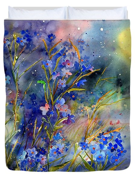 Forget-me-not Watercolor Duvet Cover