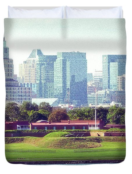 Duvet Cover featuring the photograph Fort Mchenry With Baltimore Background by Bill Swartwout Fine Art Photography