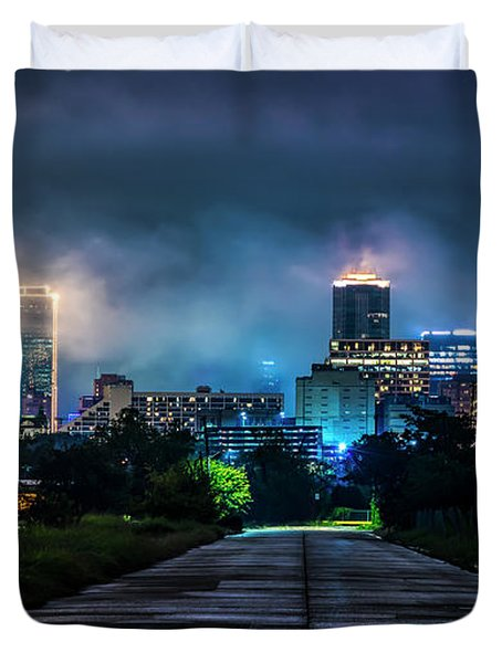 Fort Worth Lights Duvet Cover