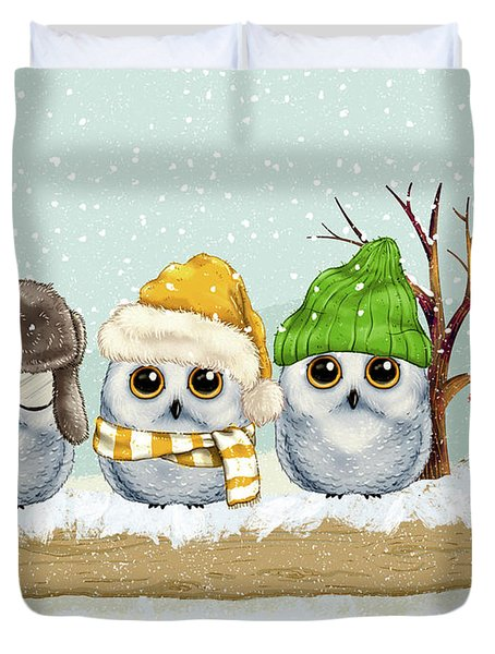 Four Winter Owls Duvet Cover