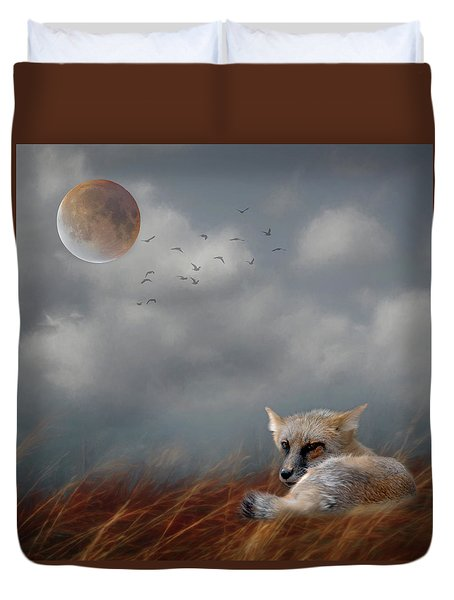 Fox In Moonlight Square Duvet Cover